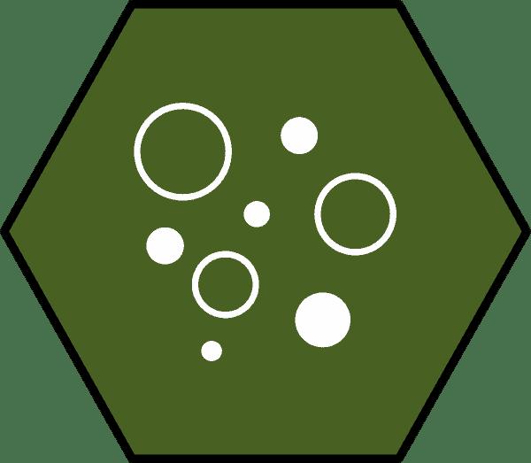 gruenes-sechseck-mit-weissen-kreisen-grosse-poren