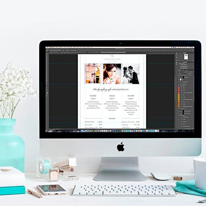 Hochzeitsfotografie Preislisten editierbare Psd-Vorlagen