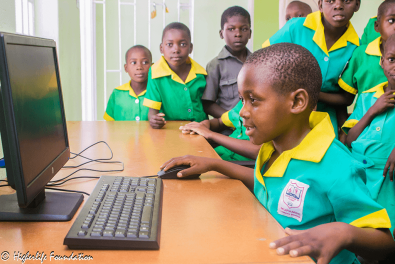 Some of the students giving the computers a test drive
