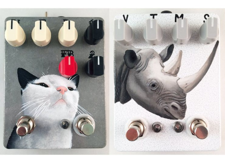 Hand Painted Fuzzrocious Pedals by Shannon Ratajski