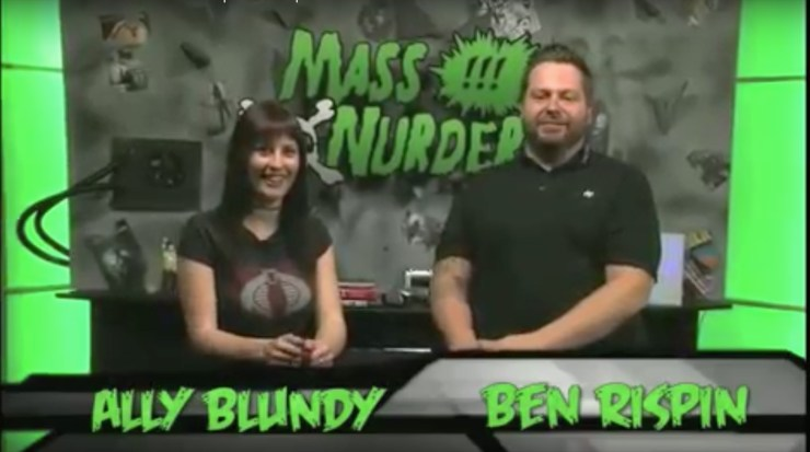 Ally Blundy and Ben Rispin on the set of Mass Nurder,