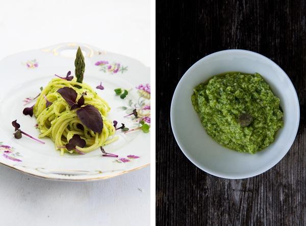 Pasta mit Pesto vom grünen Spargel