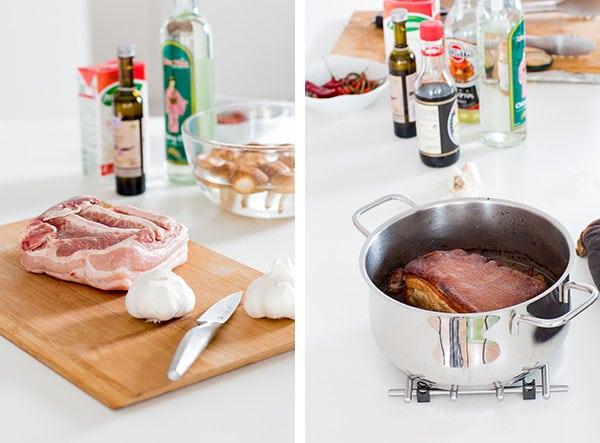Knoblauch-Ramen-Suppe mit geschmortem Schweinebauch