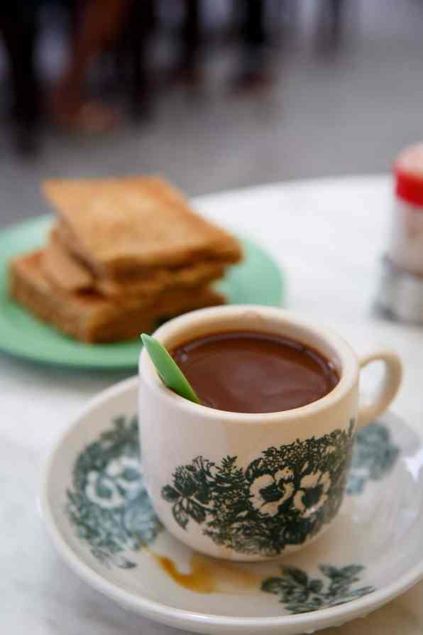 Kopi Kaffee und Kaya Toast