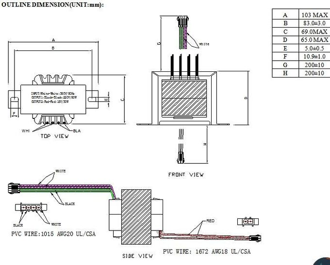 Single Phase Center Tapped Transformer , UL Lead Wire
