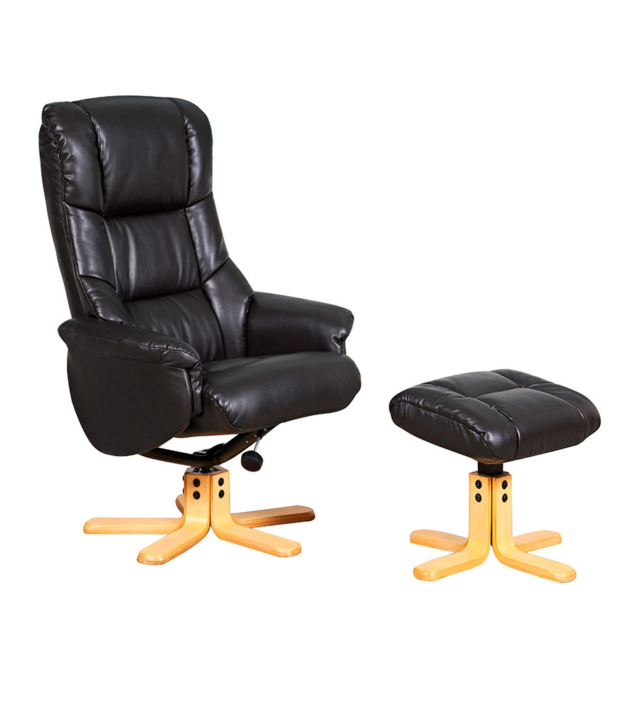GFA Marseille Faux Leather Swivel Recliner Chair  Black