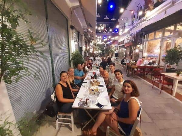 Having dinner with Couchsurfing friends in Kalapothaki, Thessaloniki