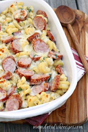 Spicy Smoked Sausage Alfredo Bake - 3- Minute Back to School Meals