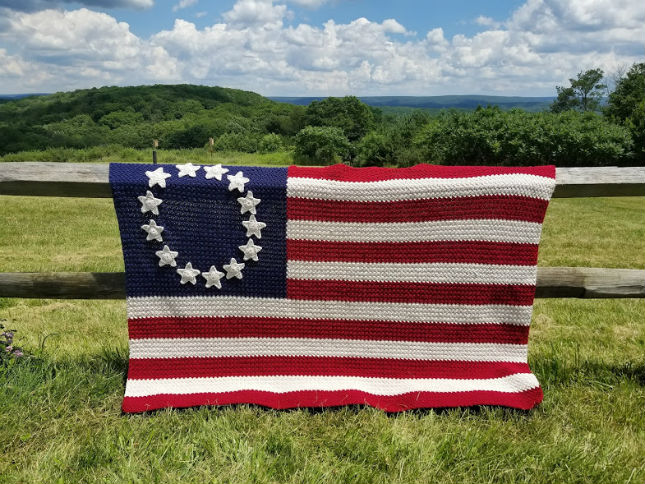 Old Glory American Flag Afghan Highland Hickory Designs