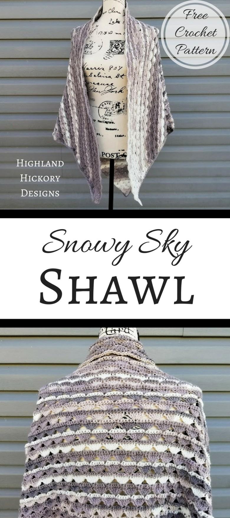 Snowy Sky Shawl Highland Hickory Designs Free Crochet