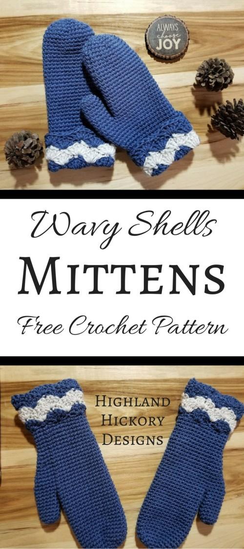 wavy shells mitten