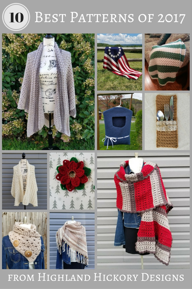 The top 10 free crochet patterns from Highland Hickory Designs for 2017. There are shawls, cowls, housewares and blankets represented in this #crochetpatterns #bestof #highlandhickorydesigns #crochet