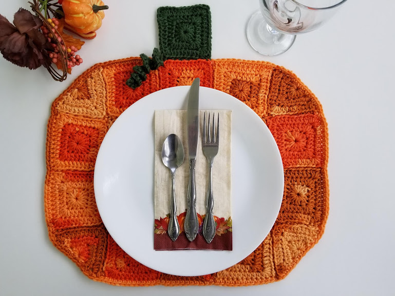 pumpkin placemat hero straight down with silverware