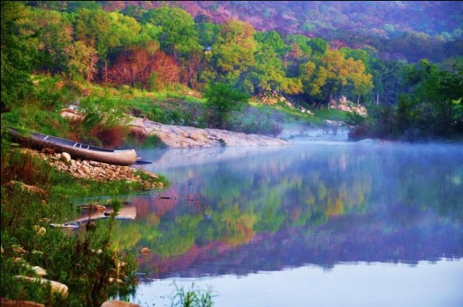 Canoe, swim, relax at Creekside Cabins near Marble Falls