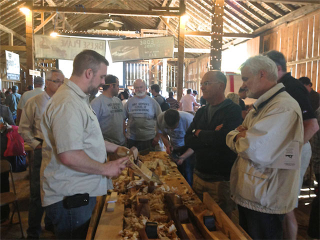 Scott Meek demonstrated his artful artisan wooden hand planes
