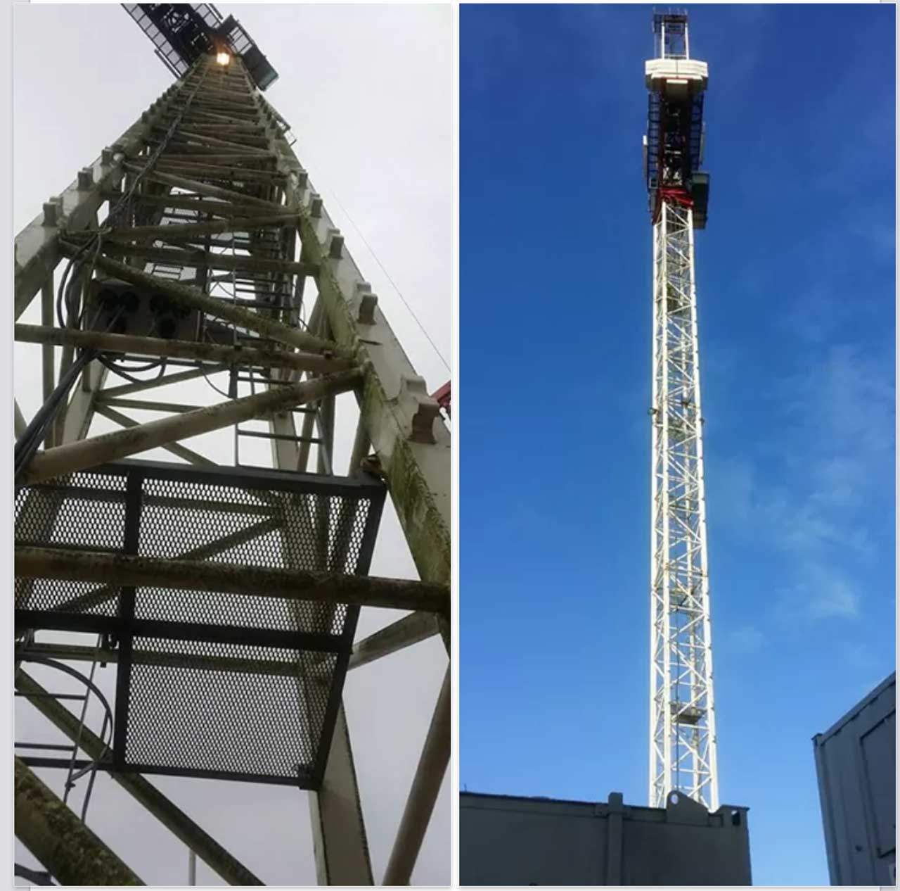 a before and after shot of a high level tower crane after it has been pressure washed showing the excellent result it gave using rope access techniques