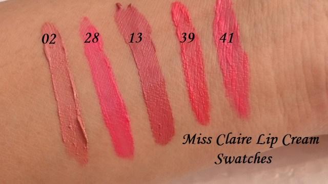 miss claire lip cream swatch