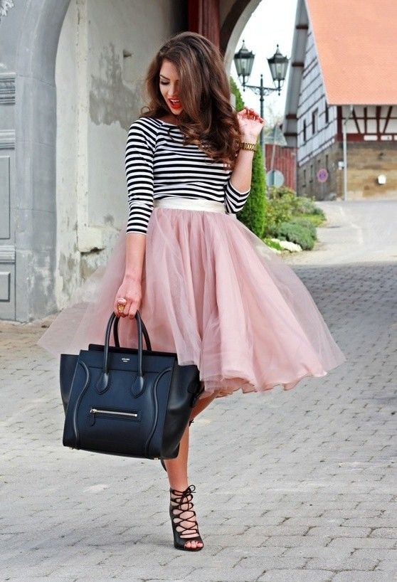 basic top & tees with tulle skirt