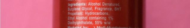 Revlon Charlie Perfumed Body Spray Ingredients
