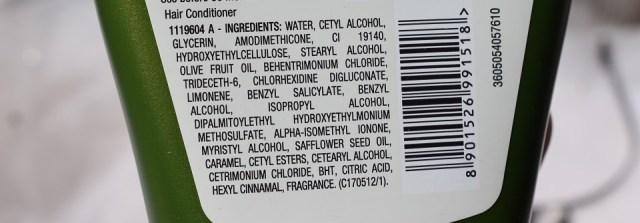Garnier Ultra Blends Mythic Olive Deep Nourishing Conditioner - Ingredients