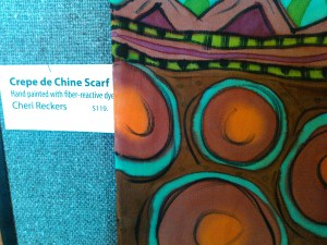 Many of us attending Artful Threads powerfully desired this hand-painted silk scarf.