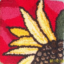 """""""Red Sunflower""""; 10""""x10""""; $55; Recycled t-shirts"""