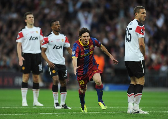Barcelona v Manchester United - UEFA Champions League Final Lionel Messi, Vidic, Evra
