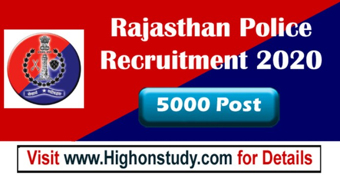 Rajasthan Police constable job 2020