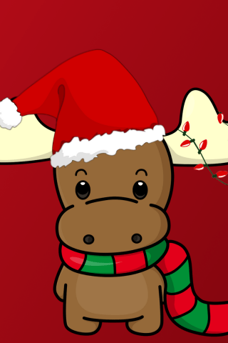 Cute Wallpaper For Android Phone Happy Christmas Reindeer With Hat Wallpaper Hd Wallpapers