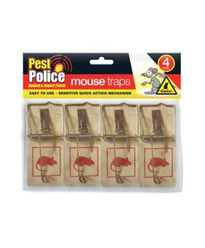 Mousetraps Wooden 4pk Pest Police
