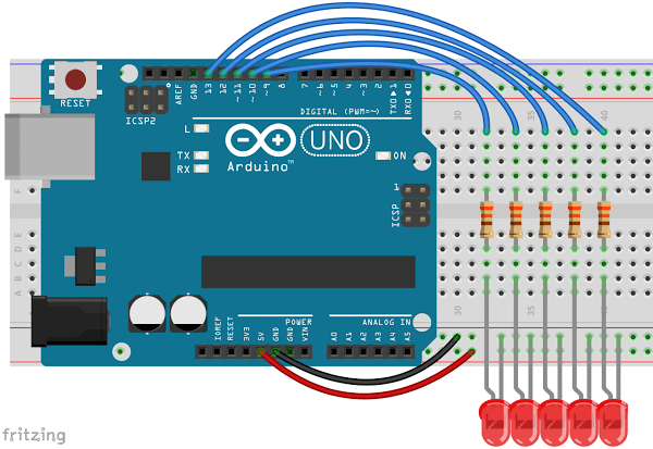 Arduino with 5 LEDs