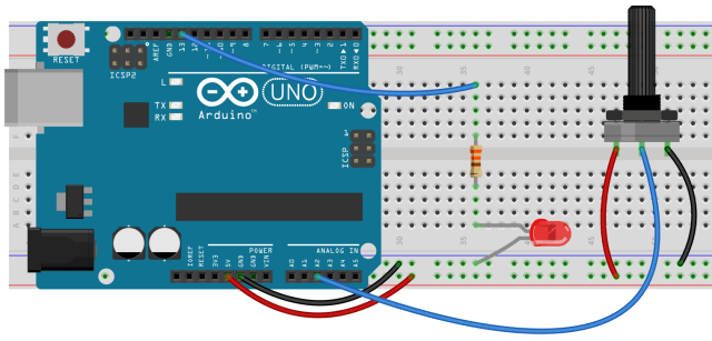 Arduino with LED and Potentiometer