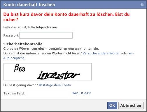 Facebook: Mein Konto löschen