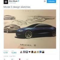 Elon Musk Model 3 sketches