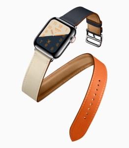 Apple Watch Series 4 Hermes-Edition mit politiertem Edelstahl-Gehäuse und extra-langem Doppel-Lederarmband