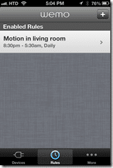 WeMo iOS - Motion Rules