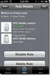 WeMo iOS - Motion Rules Details