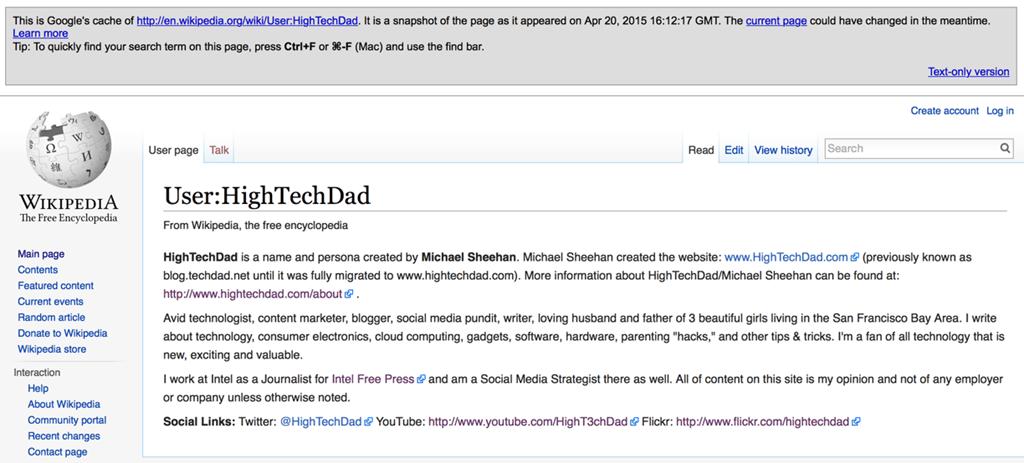 Wikipedia Shut My User:HighTechDad Page Down  Fast