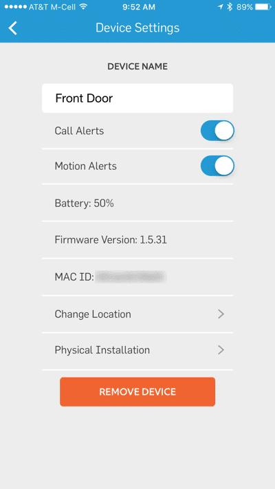 HTD Ring doorbell - iOS #10