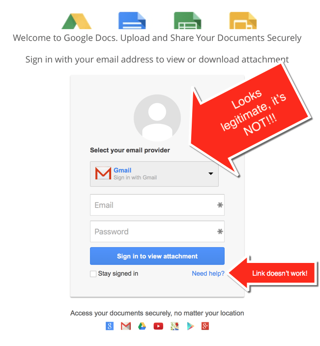 HTD Google Docs Phishing Scam - phishing page