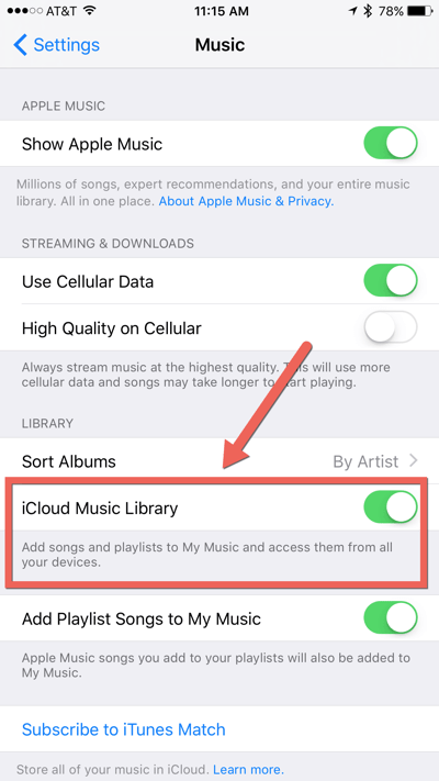 HTD Set Up & Sync iTunes Playlist - iCloud Music Library on toggle