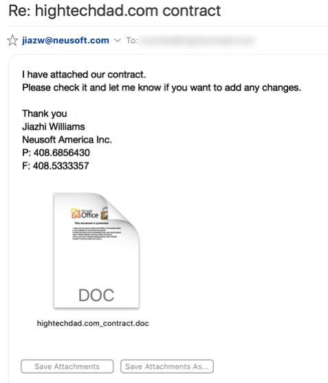 Malicious Word macro warning - email