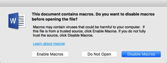 Malicious Word macro warning - disable macros