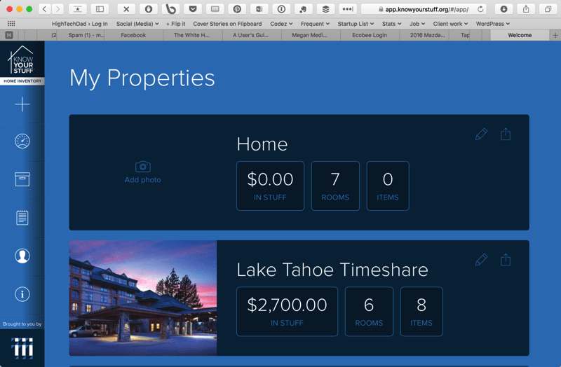 Know Your Stuff - My Properties web interface
