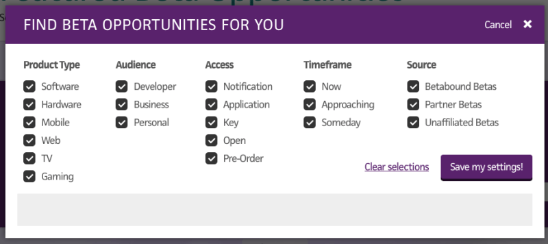 Betabound - home page categories