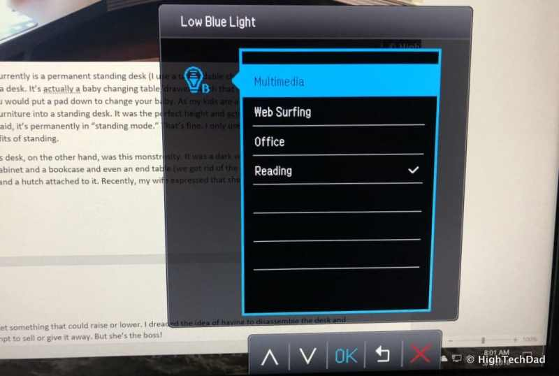 BenQ EW3270U monitor review - Low Blue Light menu