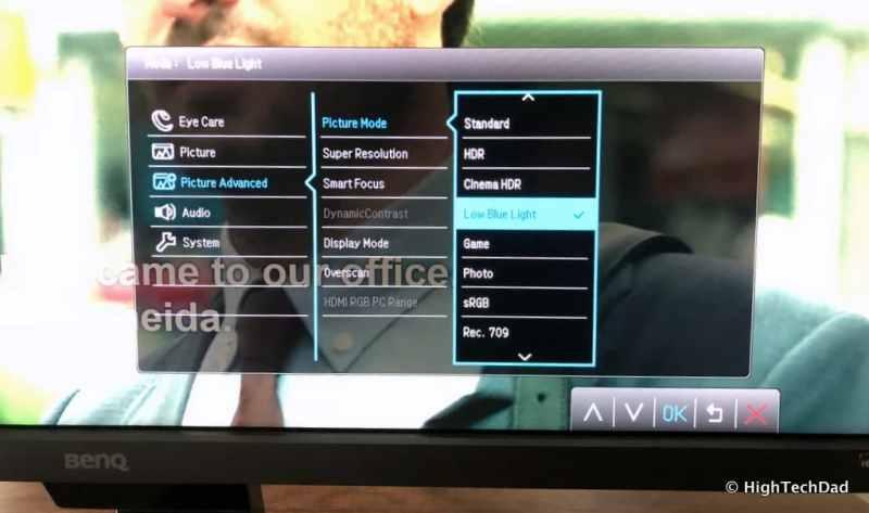 BenQ EW3270U monitor review - Picture Advanced menu