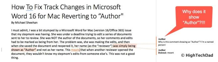 "HTD How to Fix Track Changes in Word for Mac reverting to ""Author"" - the issue"
