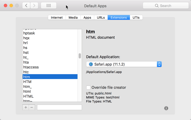 HighTechDad - How To set default application on Mac - associate extensions