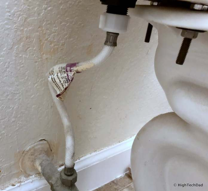 HighTechDad Omigo Toilet Seat Review - old water supply hose